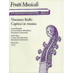 Ruffo, Vincenzo: Capricci in musica : Auswahlausgabe für 3 Blockflöten oder 3 Renaissance-Instrumente, Stimmen