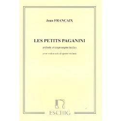 Francaix, Jean: Les petites Paganini : prelude et impromptus faciles pour violon seul et 4 violons partitur