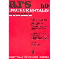 Bach, Carl Philipp Emanuel: Konzert Es-Dur Wq35 : für Orgel, Streicher und Bc Partitur