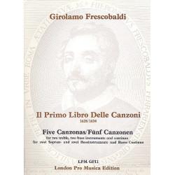 Frescobaldi, Girolamo Alessandro: 5 Canzonen : für 2 Sopran- und 2 Baßinstrumente und Bc Stimmen