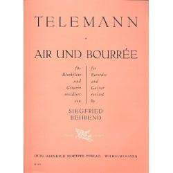 Telemann, Georg Philipp: Air und Bourrée : für Blockflöte und Gitarre Partitur