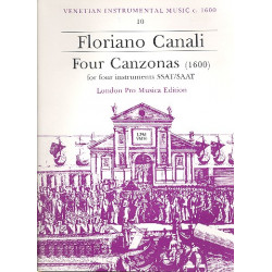 Canali, Floriano: 4 Canzonas : for 4 instruments (SSAT) score and parts