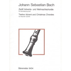Bach, Johann Sebastian: 12 Advents- und Weihnachtschoräle : für 4 Blockflöten (SATB) Spielpartitur
