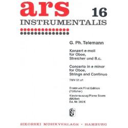 Telemann, Georg Philipp: Konzert e-Moll für Oboe, Streicher und Bc : für Oboe und Klavier