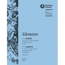 Telemann, Georg Philipp: Konzert Es-Dur für 2 Hörner und Orchester Partitur