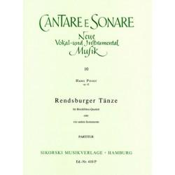 Poser, Hans: Rendsburger Tänze op.42 : für 4 Blockflöten Partitur