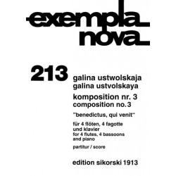 Ustwolskaja, Galina: Benedictus, qui venit : 4 Flöten, 4 Fagotte und Klavier Partitur