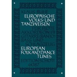 Europäische Volks- und Tanzweisen: Für Flöte, Akkordeon 1/2, Gitarre, Baß und Schlagzeug, Partitur