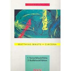 Maute, Matthias: Ciaconna : f├╝r 3 Blockfl├Âten (TBB) 3 Spielpartituren