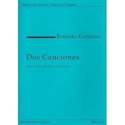 Cordero, Ernesto: 2 Canciones : für Gesang, Flöte und Gitarre (sp) Partitur und Stimmen