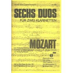 Mozart, Wolfgang Amadeus: 6 Duos Band 1 : 3 Duos KV159Anh. für 2 Klarinetten Spielpartitur