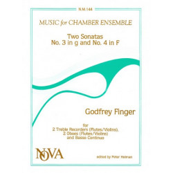 Finger, Gottfried: 2 SONATAS (NO.3 G MINOR, NO.4 F MA- JOR) : FOR 2 TREBLE RECORDERS AND BC (OR FL,VL, OB.) -PARTS-