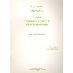 Courante (Mozart) et Offrande musicale (Bach) : pour 3 saxophones partition et parties