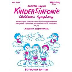Haydn, Franz Joseph: Kindersinfonie für 4 Blockflöten (SATB) und Schlagzeug Partitur und 5 Stimmen