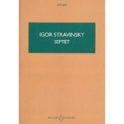 Strawinsky, Igor: Septett für Klarinette, Horn, Fagott, Klavier, violine, Viola und Violoncello Studienpartitur