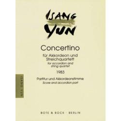 Yun, Isang: CONCERTINO : FUER AKKORDEON UND STREICHQUARTETT PARTITUR UND AKKORDEONSTIMME (1983)
