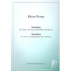Poser, Hans: Sonatine op.36,3 : für Tenorblockflöte (Sopranblockflöte) und Klavier