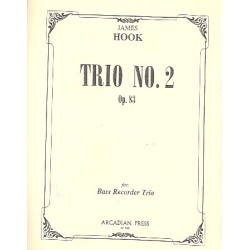 Hook, James: Trio no.2 op.83 : for 3 recorders (BBB) score and parts
