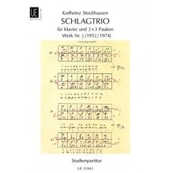 Stockhausen, Karlheinz: Schlagtrio Werk Nr.1/3 : f├╝r 2 mal 3 Pauken und Klavier Partitur