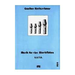 Kretzschmar, Günther: MUSIK FUER 4 BLOCKFLOETEN (SSTB) PARTITUR+STIMMEN