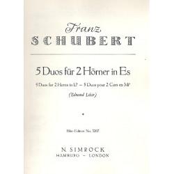 Schubert, Franz: 5 DUOS : FUER 2 HOERNER IN ES SPIELPARTITUR LELOIR, EDMOND, ED