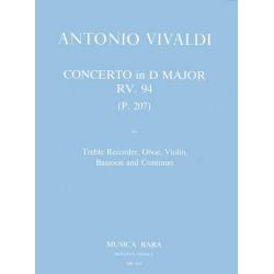 Vivaldi, Antonio: Concerto D major RV94 : for treble recorder, oboe, violin, bassoon and bc