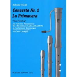 Vivaldi, Antonio: Concerto Nr.1 - der Frühling : für 3 Blockflöten in wechselnder Besetzung (AAB, AAA, SAB, STB)