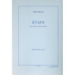 Jolas, Betsy: ETATS : POUR VIOLON ET 6 PER- CUSSIONS PARTIES