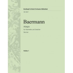 Baermann, Heinrich Joseph: Adagio Des-Dur : für Klarinette und Streichorchester Violine 1