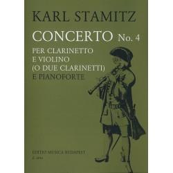 Stamitz, Karl: Konzert B-Dur Nr.4 : f├╝r Klarinette und Violine (2 Klarinetten) und Klavier