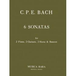 Bach, Carl Philipp Emanuel: 6 Sonaten WQ184 : für 2 Flöten, 2 Klarinetten, 2 Hörner und Fagott Partitur und Stimmen