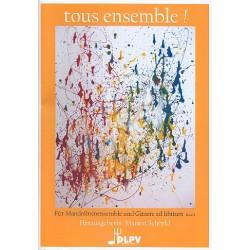 Tous ensemble Band 1 : für Mandolinen- Ensemble (Gitarre ad lib) Partitur