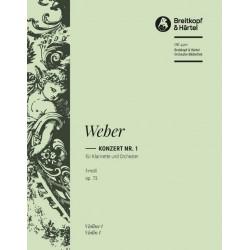 Weber, Carl Maria von: Konzert f-moll nr.1 Op.73 : für Klarinette und Orchester Violine 1
