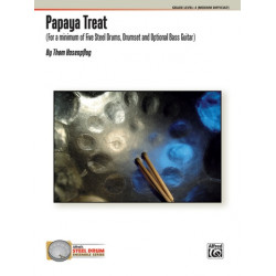 Hasenpflug, Thom: Papaya Treat : for 5 steel drums and drum set (bass guitar ad lib) score and parts
