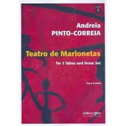 Pinto-Correia, Andreia: Teatro de marionetas for 2 tubas and drum set score and parts