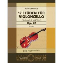 Gr├╝tzmacher, Friedrich: 12 Et├╝den op.72 : f├╝r Violoncello (2. Cello ad lib.)