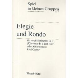 Cadow, Paul: Elegie und Rondo : f├╝r 2 Klarinetten (Klarinette und Horn/Altsaxophon) Spielpartitur und Stimmen