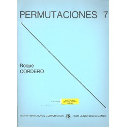 Cordero, Roque: Permutaciones 7 : for clarinet, trumpet, timbales, piano, violin, viola and double bass score and parts