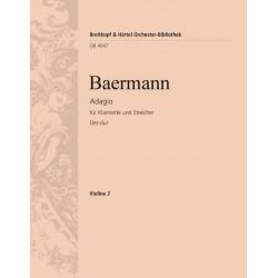 Baermann, Heinrich Joseph: Adagio Des-Dur : für Klarinette und Streichorchester Violine 2