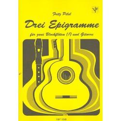Pilsl, Fritz: 3 Epigramme : für 2 Altblockflöten und Gitarre Partitur und Stimmen
