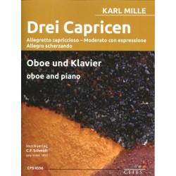Mille, Karl: 3 Capricen : für Oboe und Klavier