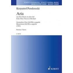 Penderecki, Krzysztof: Aria aus Drei Stücke im alten Stil : für gem Chor a cappella Partitur