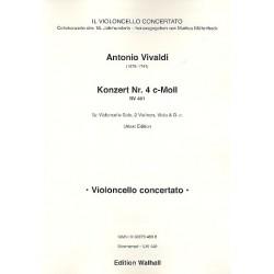 Vivaldi, Antonio: Konzert c-Moll Nr.4 RV401 : für Violoncello solo, 2 Violinen, Viola und Bc Stimmensatz (solo-2-2-1-2)