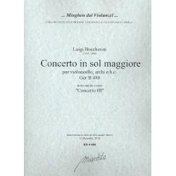 Boccherini, Luigi: Concerto in sol maggiore GerB480 : für Violoncello, Streicher und Bc Partitur und Stimmen (3-3-2-2-2)