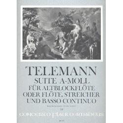 Telemann, Georg Philipp: Suite a-Moll für Altblockflöte (Flöte), Streicher und Bc : für Altblockflöte und Klavier