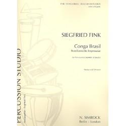 Fink, Siegfried: Conga brazil : für Percussion-Ensemble (8-14 Spieler) Partitur und Stimmen