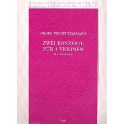 Telemann, Georg Philipp: Konzert D-Dur Nr.2 : für 4 Violinen Partitur und Stimmen