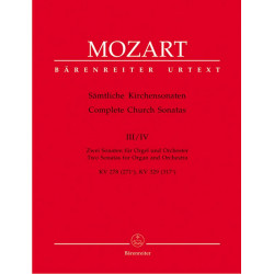 Mozart, Wolfgang Amadeus: 2 Sonaten C-Dur KV278 und KV329 für Orgel und Orchester Partitur