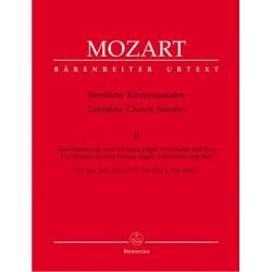 Mozart, Wolfgang Amadeus: Sämtliche Kirchensonaten Band 2 für 2 Violinen, Orgel, Violoncello, Bass Partitur und Stimmen