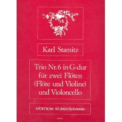 Stamitz, Karl: Trio G-Dur Nr.6 für 2 Flöten und Violoncello Stimmen